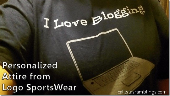 Personalized Attire from Logo Sportswear (I Love Blogging Shirt)