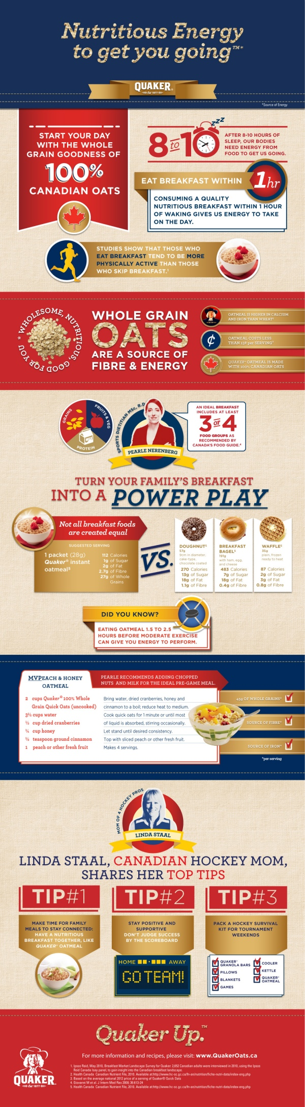 Hockey Mom Tips from Quaker and Linda Staal (mom of 4 pro hockey players) #infographic