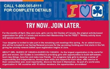 Girl Guides of Canada Try Now Join Later (Join for the rest of the year and membership fee is waived)
