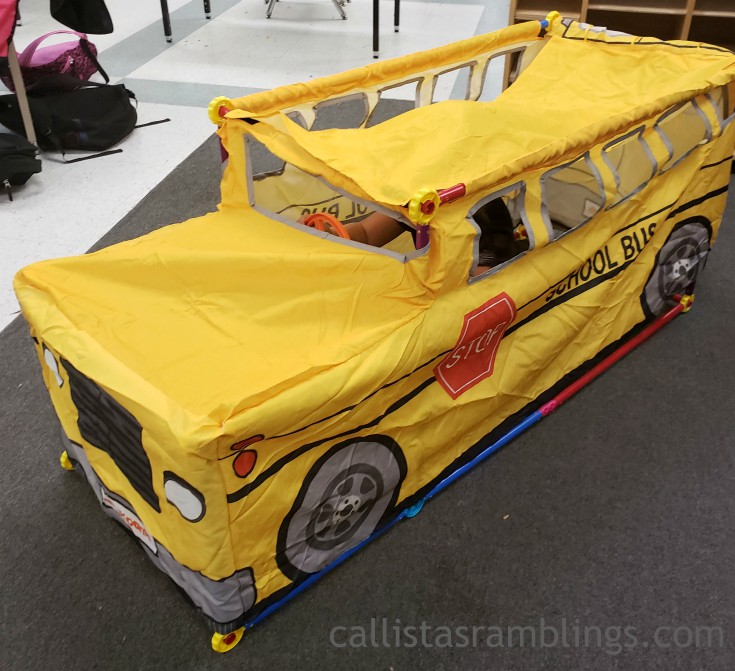 The Antsy Pants All-in-one Bus kit fully assembled with the roof velcroed on top.