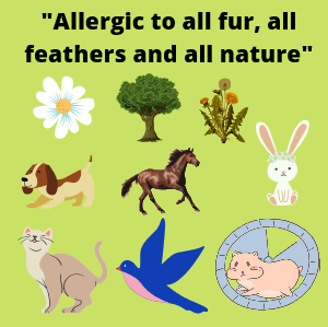 Allergic to all fur, all feathers and all nature